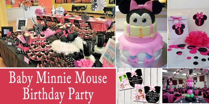 Personalized baby minnie mouse birthday party supplies in for Baby minnie mouse party decoration