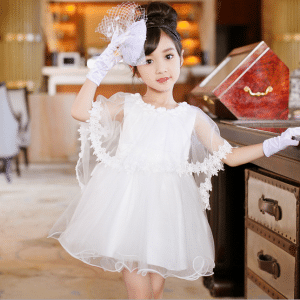White Net Designer Baby Girl Dress