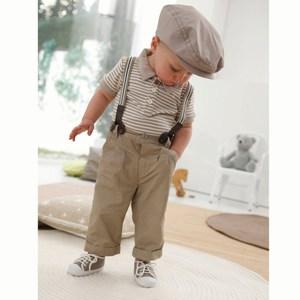Cute Boy Suspenders and Hat