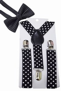 Kids Black Suspenders and Bow Tie