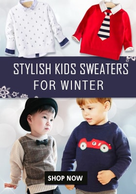Stylish baby girl warm sweaters