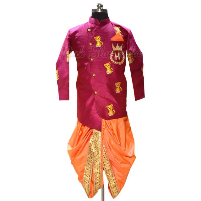 baby boy Dhoti Jacket Set Online - Kids Ethnic Wear