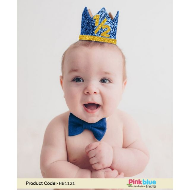 Boy Half Birthday Crown, Personalized 6 Month Party Hat, 1/2 Birthday Mini Glittery Party Hat