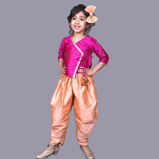 Angrakha Set - Designer Baby Girl Angarkha Style Dress Online