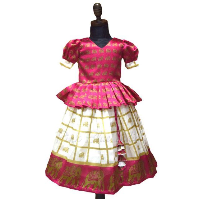 Baby Girls Pattu Lehenga Design Online, Lehenga 1-3 years