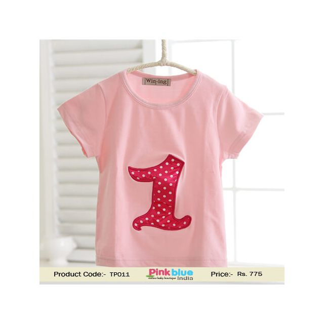 Unisex Baby Red Polka Dot First Birthday T Shirts Children's Tees