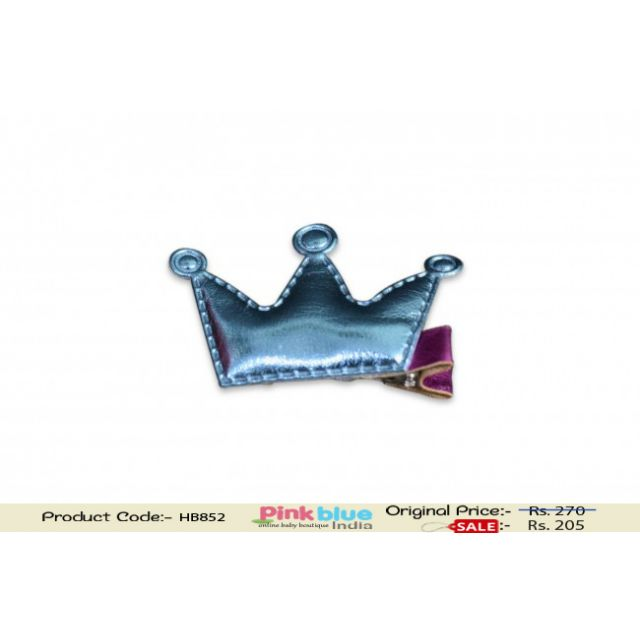 Beautiful Blue Crown Motif Pink Hair Clip for Baby Girls