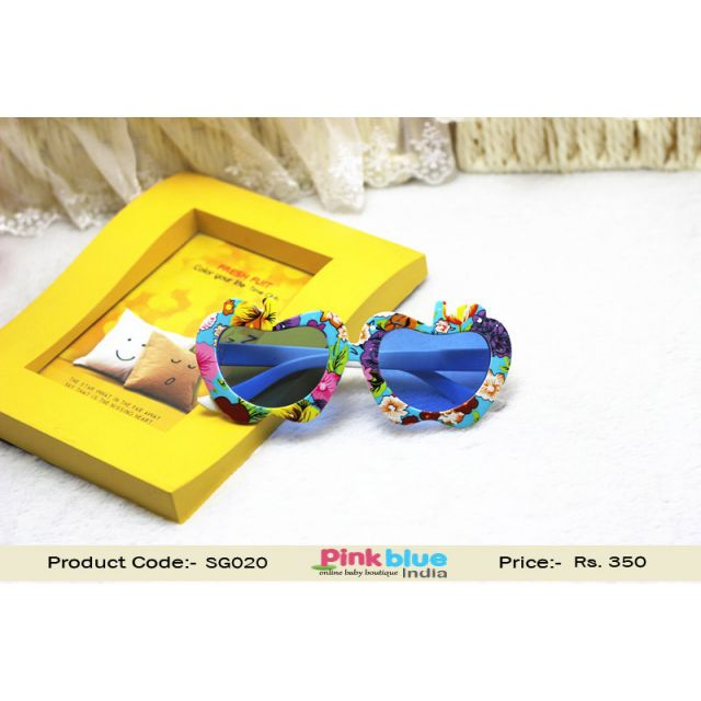 Unique Kids Sunglasses - Blue Frames Baby Goggles Apple Floral Design