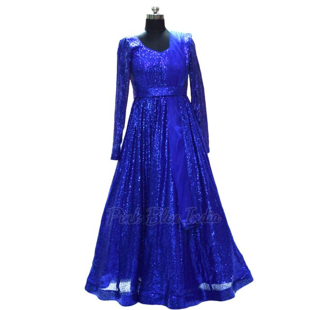 Blue Designer Wedding Party Gown for Women Online India