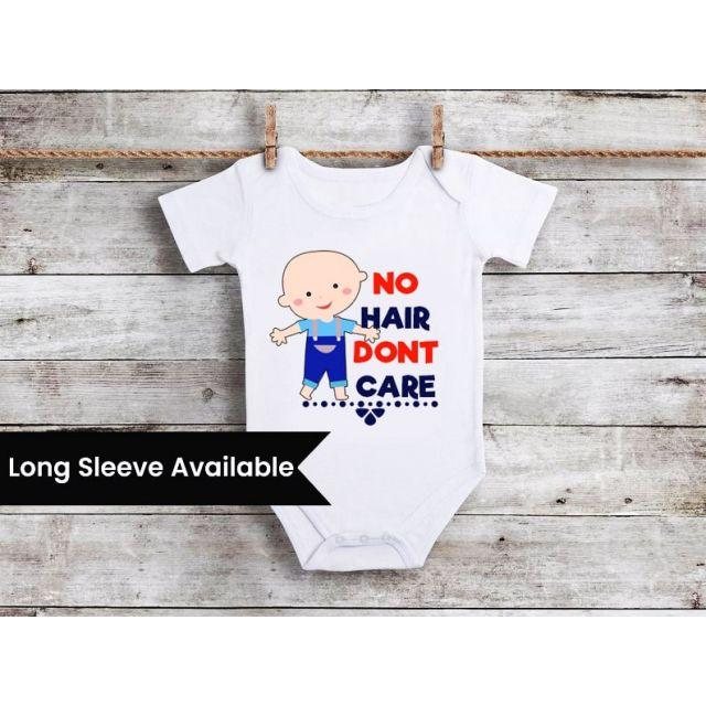 No Hair Don't Care Newborn Bodysuit - Funny Baby Onesie Boy Clothes