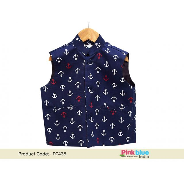 Buy Blue Cotton Modi Jacket Online – Kids Ethnic Wear Jacket