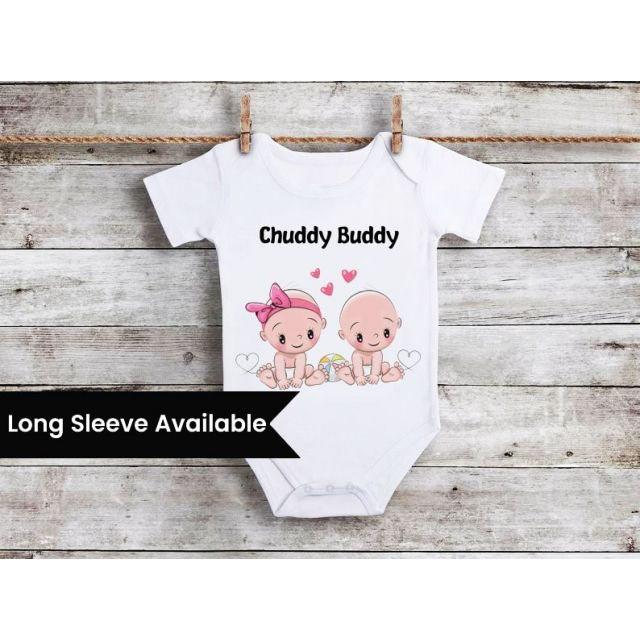 Chaddi Buddies Twins Onesie, Twin Girls and Boys Onesie, Bodysuit