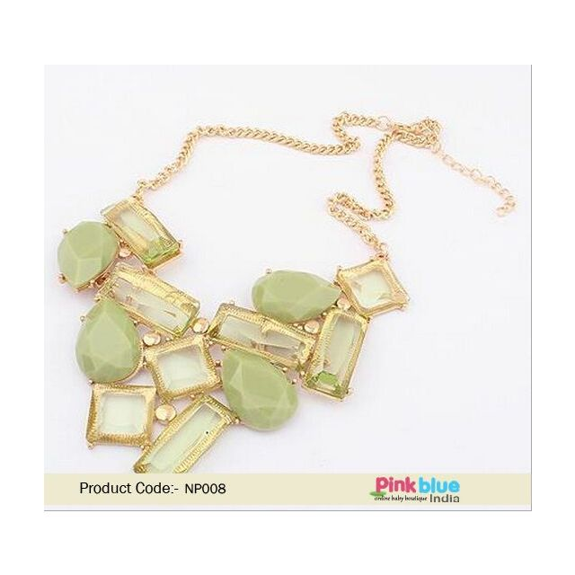 Designer Necklace for Ladies in Posh Pastel Green Stones and Beads