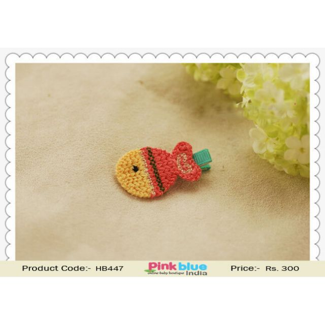Fish Shaped Yellow and Orange Hair Clip for Infant Babies