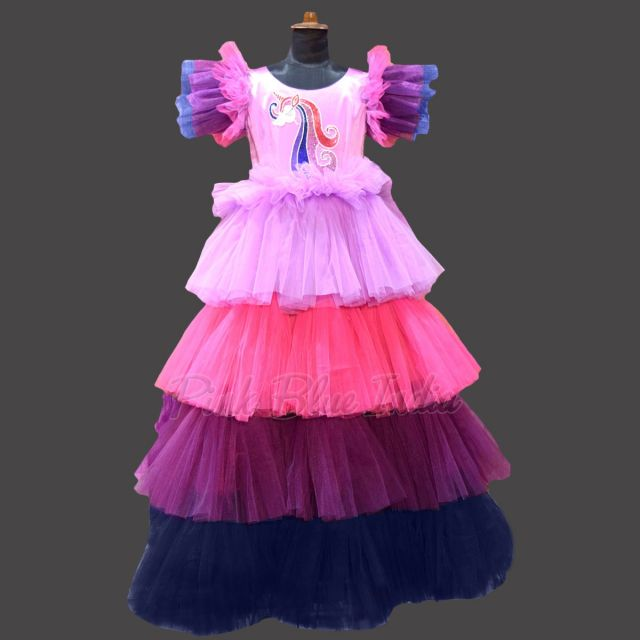 Girls Unicorn Colorful Gown, Unicorn Birthday Party Dress