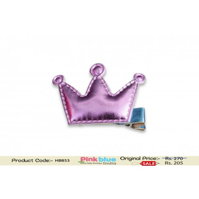 Gorgeous Infant Girl Purple Hair Pin with Cute Pink Crown Motif