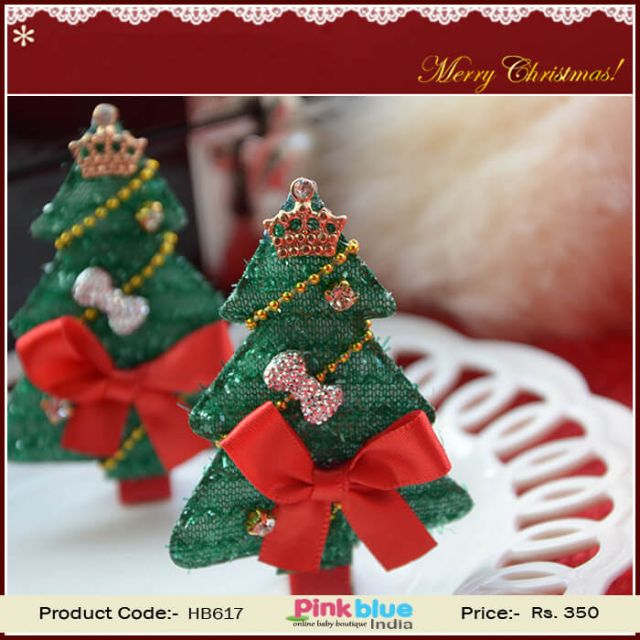Cute Green and Red Christmas Tree Hair Clip For Infant Girl