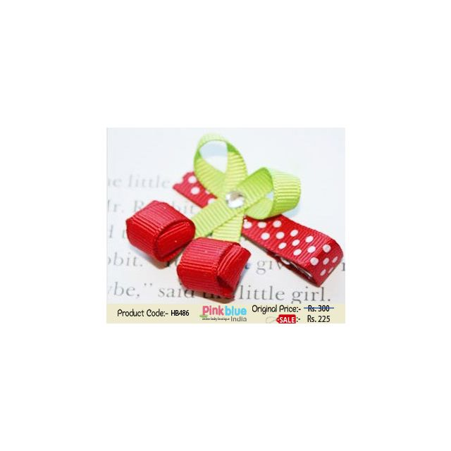 Beautiful Green and Red Color Hair Accessory for Toddlers in India