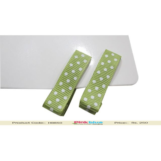 Rectangle Green Hair Pin for Toddlers in India with White Dots