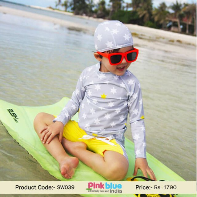 New Collection Baby Boys Three Piece Swimsuit Children Star Print Bathing Suit