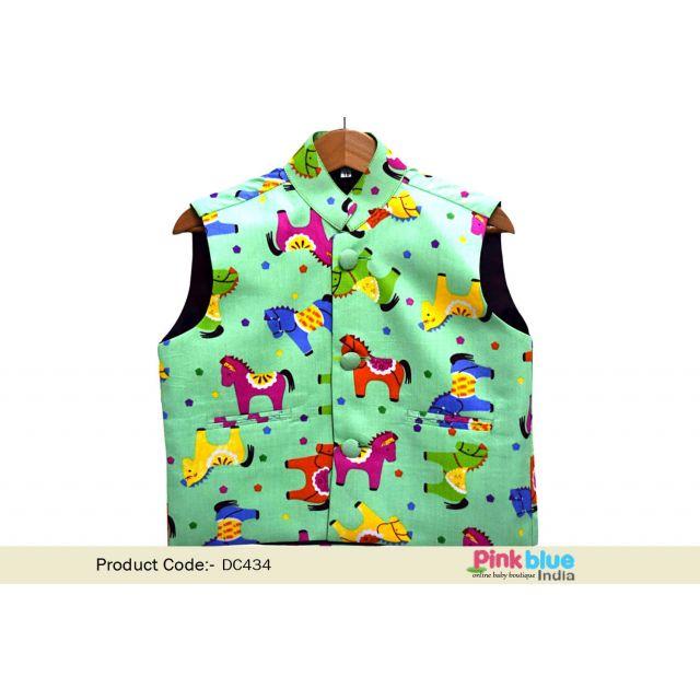 Boys Nehru Jacket - Buy Horse Print Modi Jacket for Children