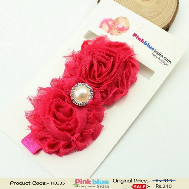 Buy Online Hot Pink Hair Band for Infants with Flowers
