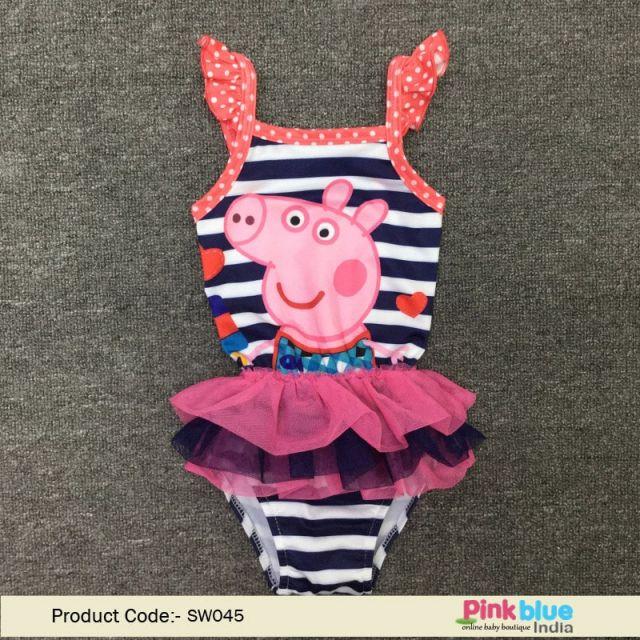 Kids Swimwear   Infant Girls Pig Pattern One-Piece Swimsuit