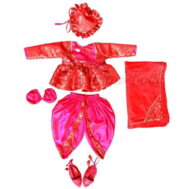 Banarasi Silk Jamna Newborn Baby Set, Red Baby Jamna Dhoti Top Set Online