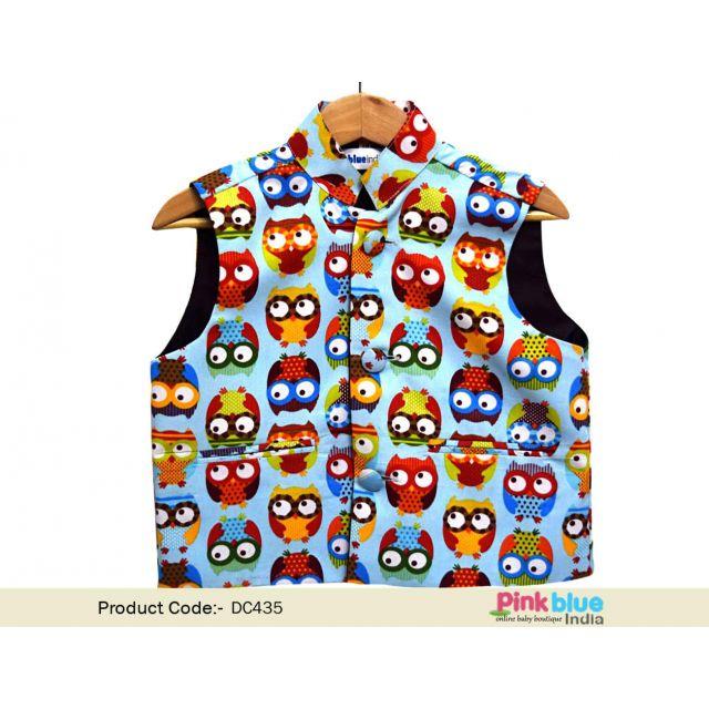 Buy Ethnic Nehru Jacket - Kids Nehru Jacket With Owl Print