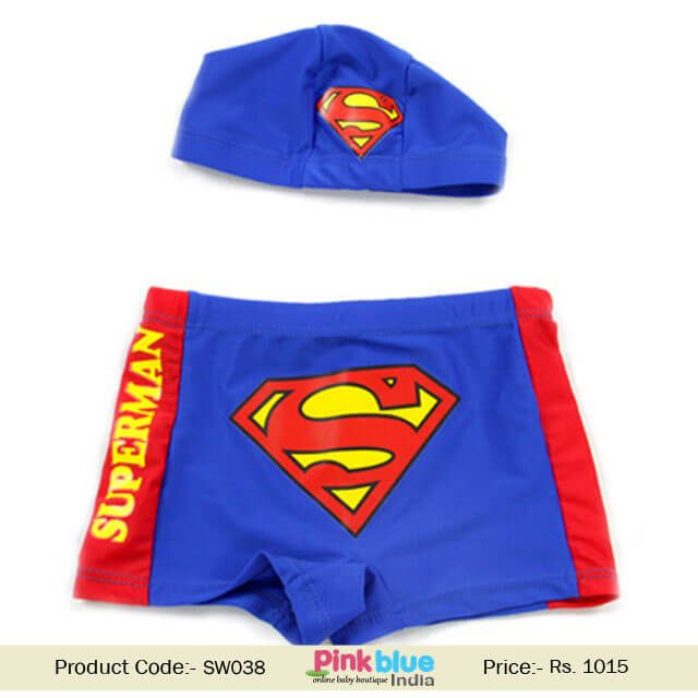 Toddler Baby Boy Swim Trunks Superman Print Kids Swim Short