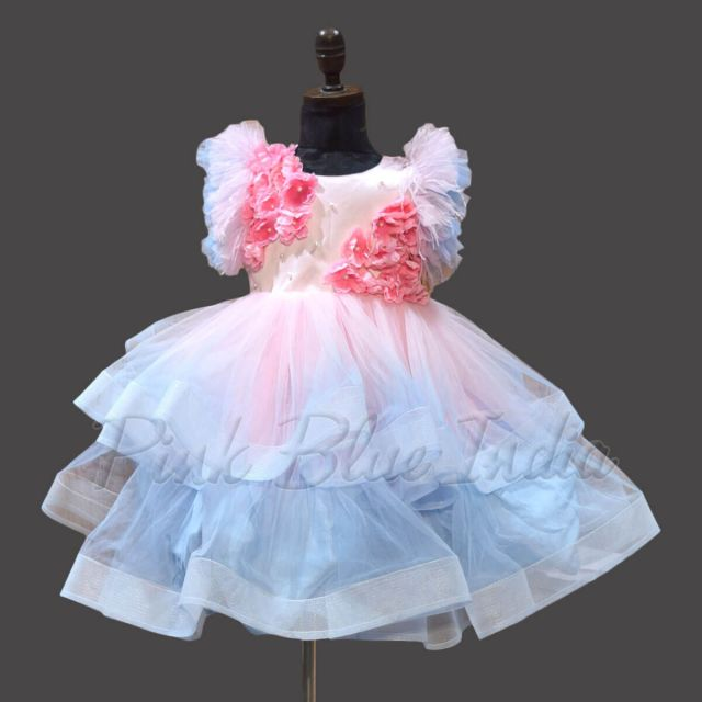 Latest Trendy Tier Pink & Blue Gown Girls Gown Online