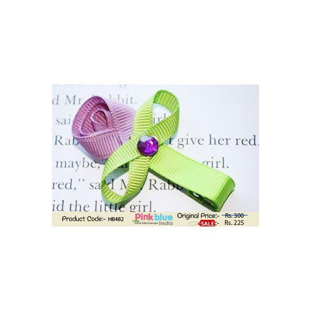 Lavender and Green Flower Shaped Designer Hair Clip for Baby Girls