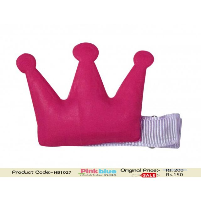 Shop Online Lavender Hair Clip with Hot Pink Crown for Baby Girls