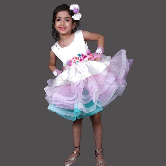 Little Pony Costume, Rainbow Unicorn Costume Fancy Girl Dress