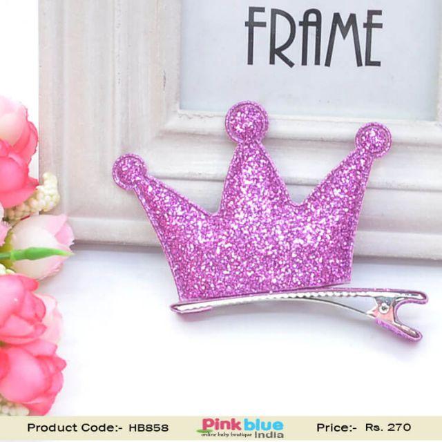 Pink Children's Hair Clip in Princess Crown