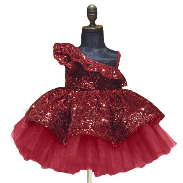 Maroon Ruffled One Shoulder Girls Dress