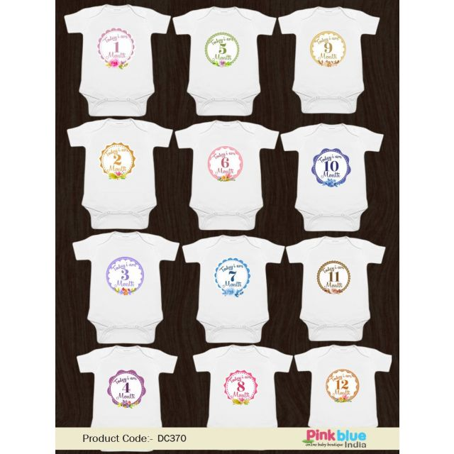 Today I Am 1-12 Month baby romper Set, Custom Month by month Milestone onesies