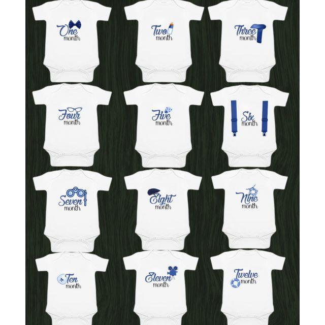 Baby First 12 Month Onesies – Newborn Bodysuit Set - Monthly Onesies Boy