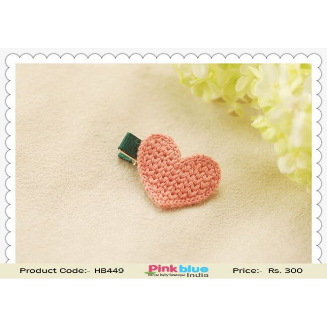 Cute Heart Shaped Green Hair Clip for Toddlers