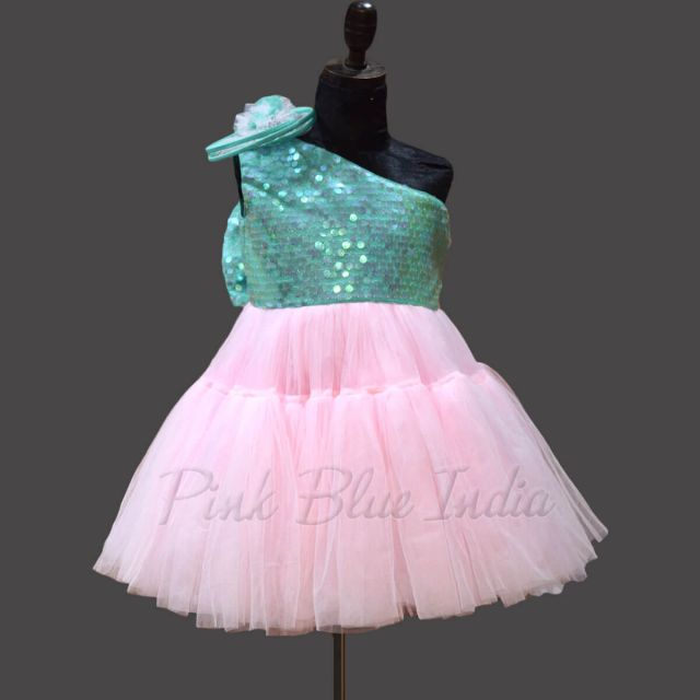 Pink Sequin Party Wear One Shoulder Gown Online
