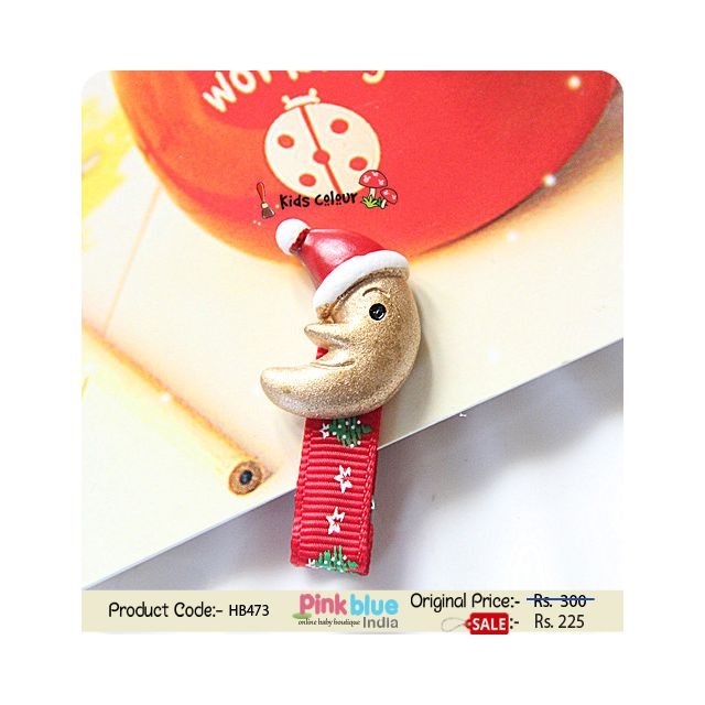 Red Colored Christmas Theme Infant Hair Clip with a Golden Moon Motif