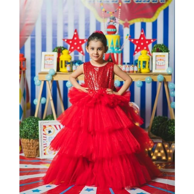Girls Red Gown, Red Party Wear Gown Dress Online