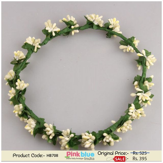 Tiara Style Princess Girls Headband in Off-White Beaded Flowers and Leaves