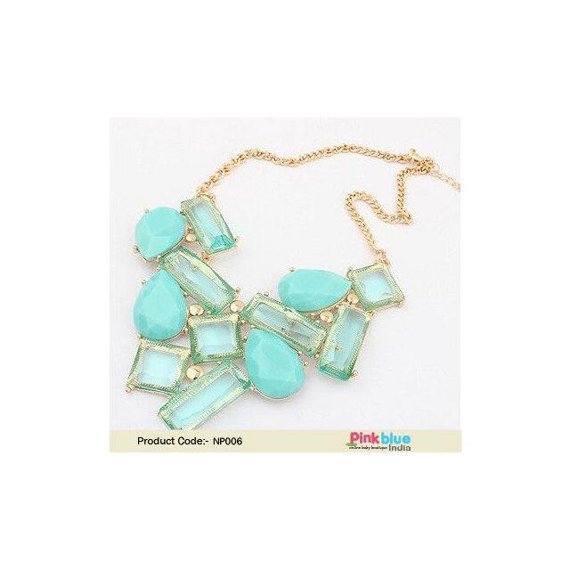 Stylish Aqua Colored Stone Studded Gypsy Bohemian Necklace Set