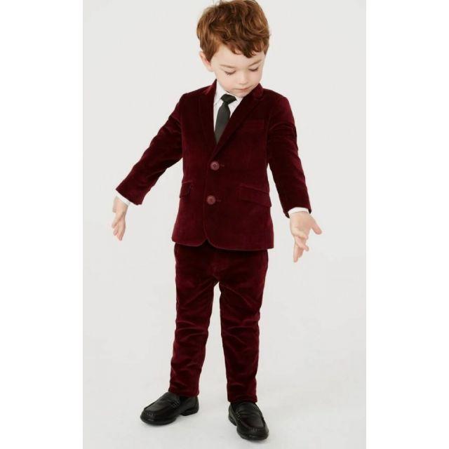Boys Velvet Maroon Suit for Wedding, Kids Suit Online