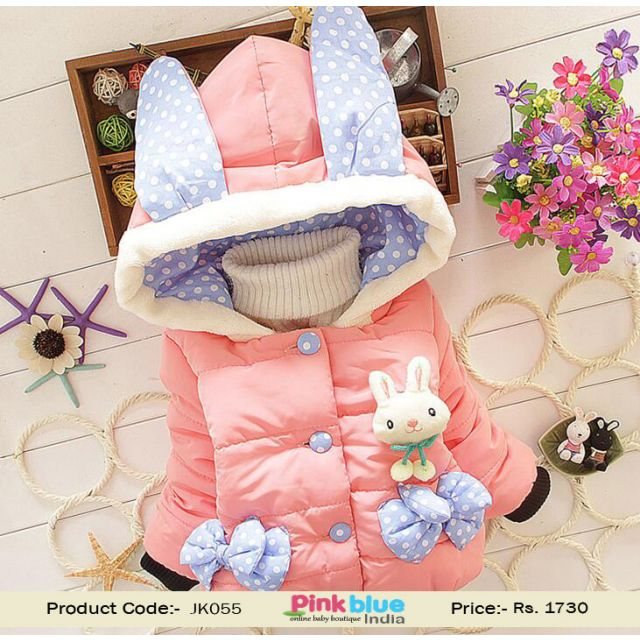 Cute Peach Bunny Attractive Warm Coat for Winter for Young Girls