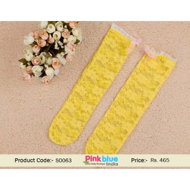 yellow long baby socks