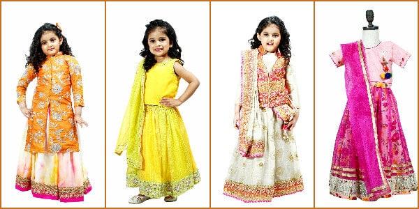little girls wedding party wear designer lehenga