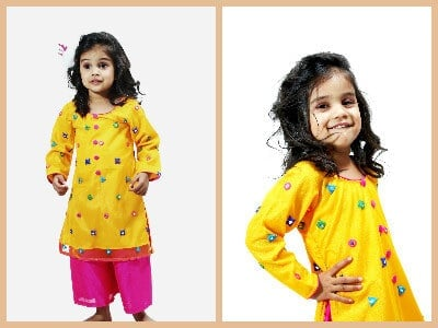 Yellow Baby Girl Salwar Kameez India