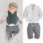 3 Piece Grey and White Format Wear Outfit